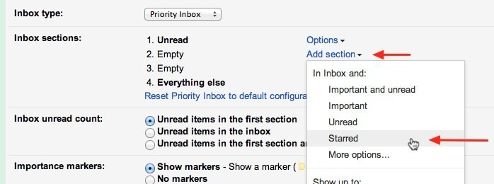 Create sections in Gmail