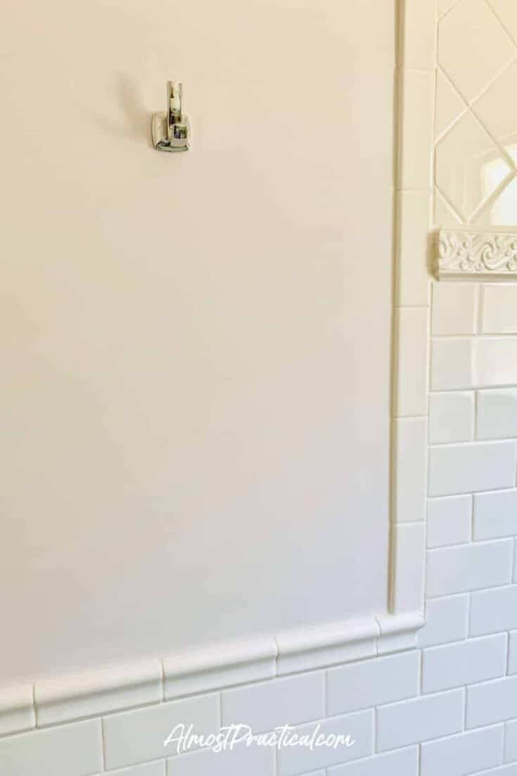towel hook over tile wainscoting in bathroom
