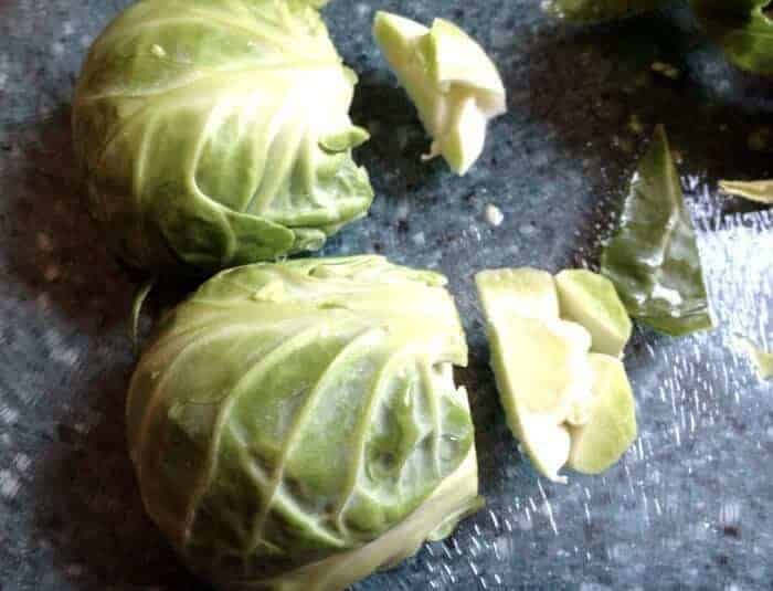 cut bottoms off of brussels sprouts
