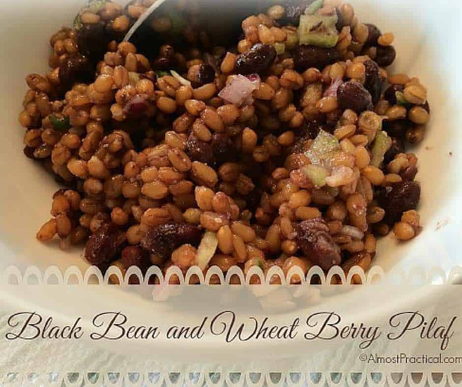 Black bean and wheat berry pilaf