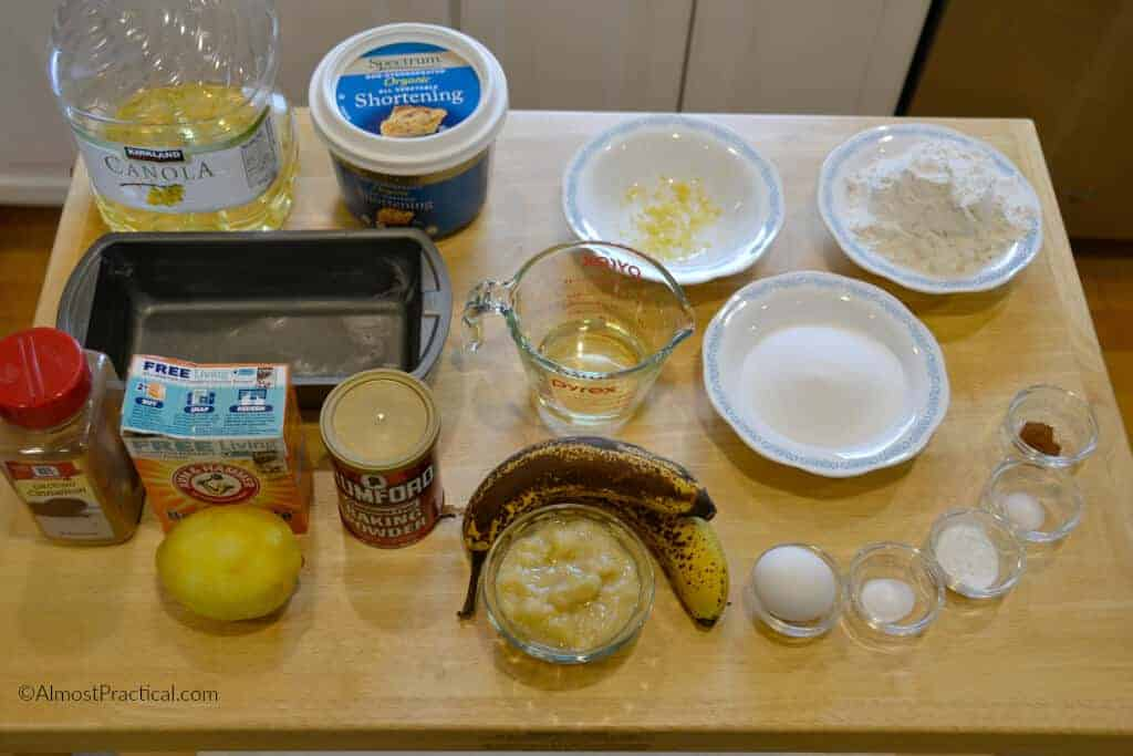 Banana bread recipe ingredients.
