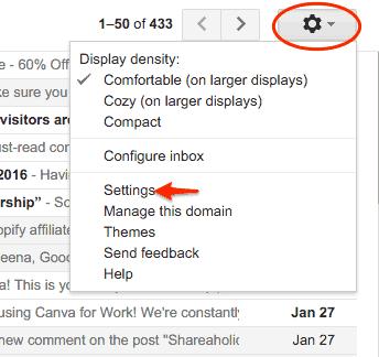 Settings tab in Gmail