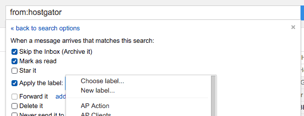 Apply a label to a filter in Gmail.
