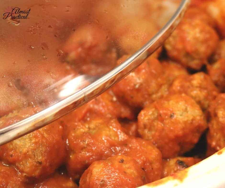 Crock pot meatballs for a pasta dinner.
