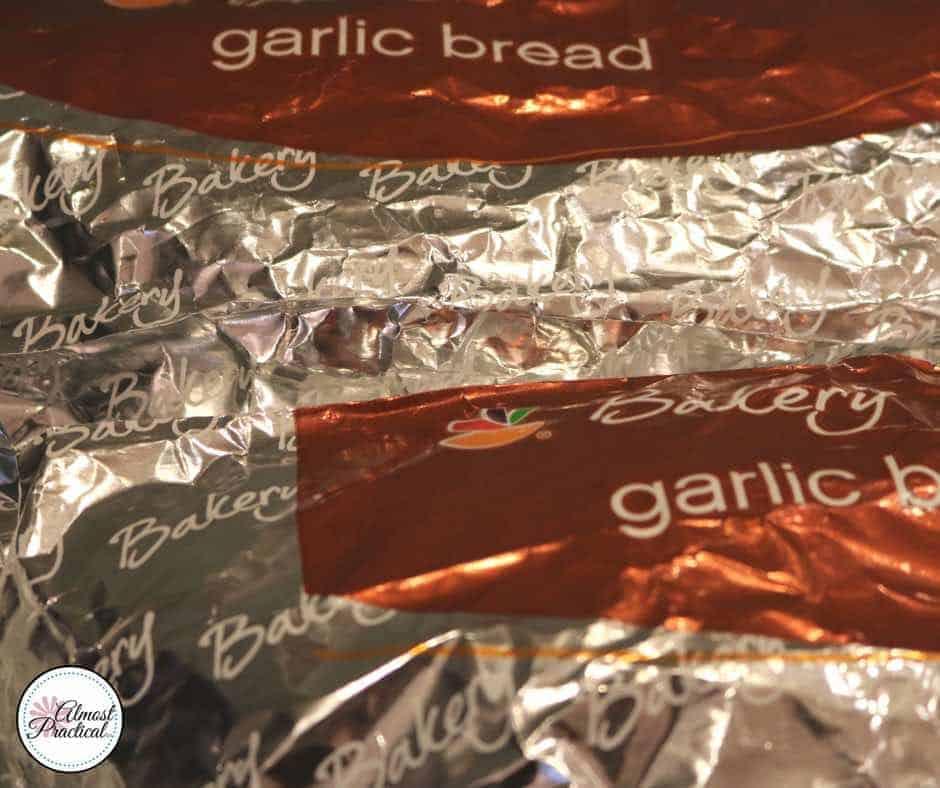 Garlic bread for a pasta dinner.