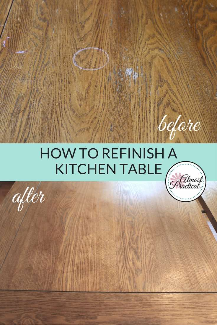 Refinishing the kitchen table top before and after. I think this DIY project was worth it - don't you?