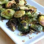 Parmesan encrusted roasted brussels sprouts recipe.