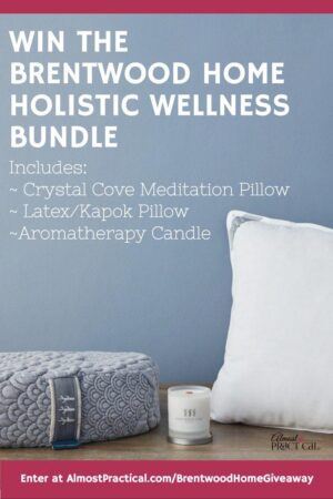 The Brentwood Home Holistic Wellness Bundle includes a Crystal Cove Meditation Pillow, latex/kapok pillow, and aromatherapy candle.