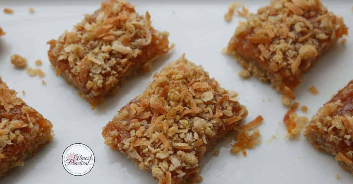 Apricot coconut bars - simple and easy recipe