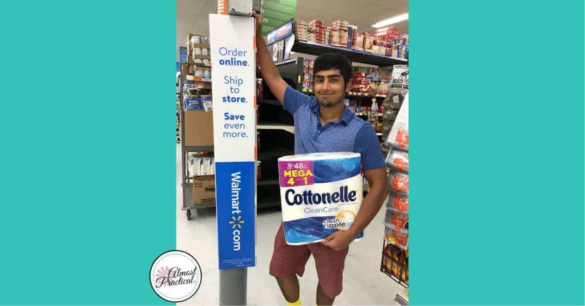 Buying Cottonelle at Walmart.