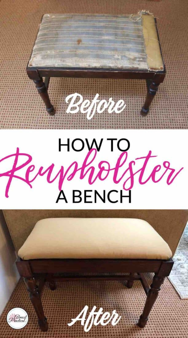 The before and after pictures of my how to reupholster a bench DIY. Even though I made some beginner mistakes along the way - the end result is still 100% better than before.