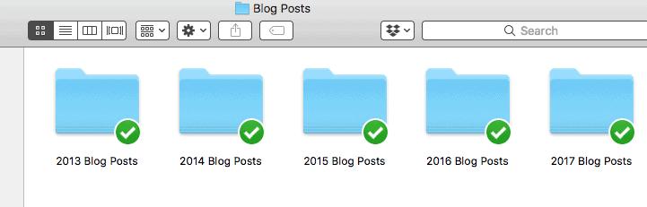 folders organized by date