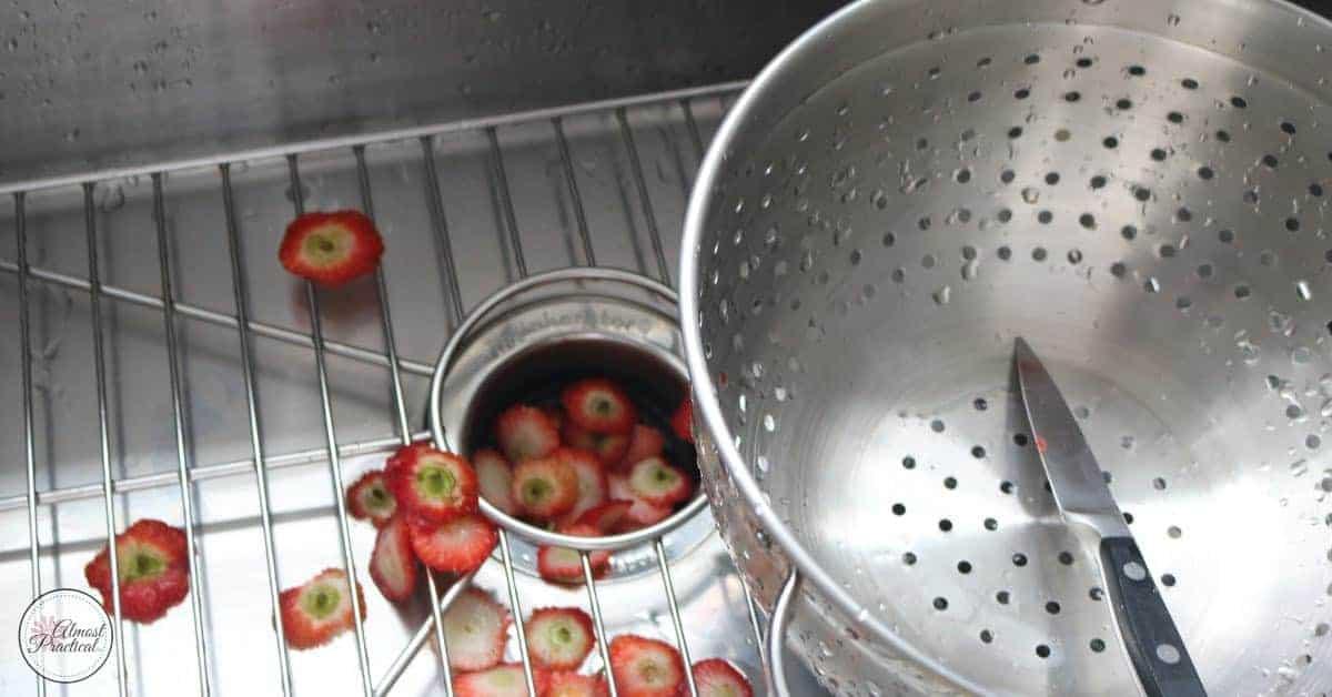 strawberry hulls in sink