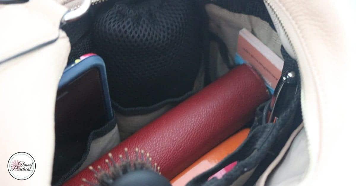 Purse organizer inside hobo bag.