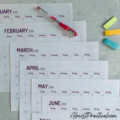 Free Printable 2019 Calendar by Month