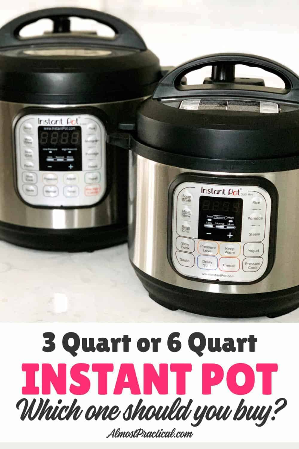 2 Instant Pots next to each other - 3 qt and 6 qt