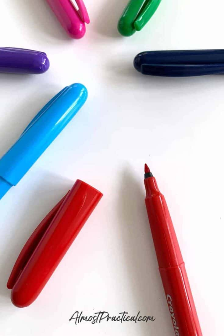 photo of Crayola Take Note! Felt Tip Pins spread out on desktop