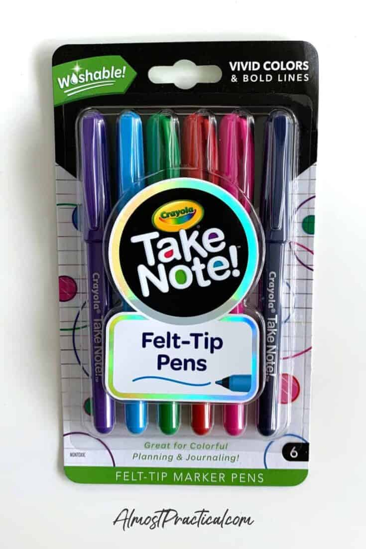 photo of Crayola Take Note! Felt Tip Pens in Package