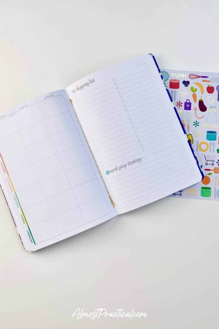 photo of inside pages of Erin Condren Meal Planner Petite Planner and sticker sheet
