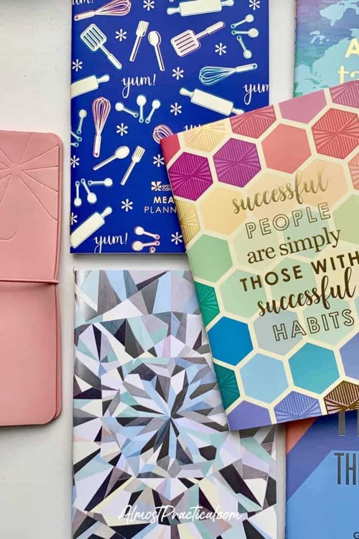The Erin Condren On the Go Folio cover in mauve with 5 of the Petite Planners next to it.