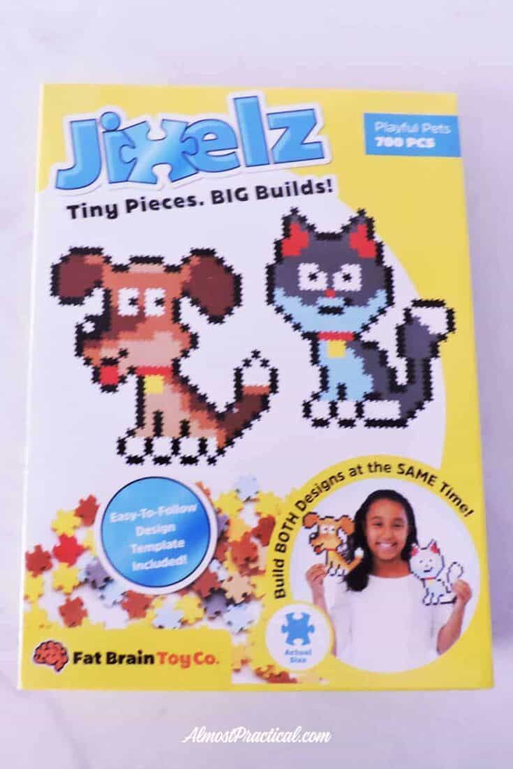 photo of the package of Jixelz with dog and cat design