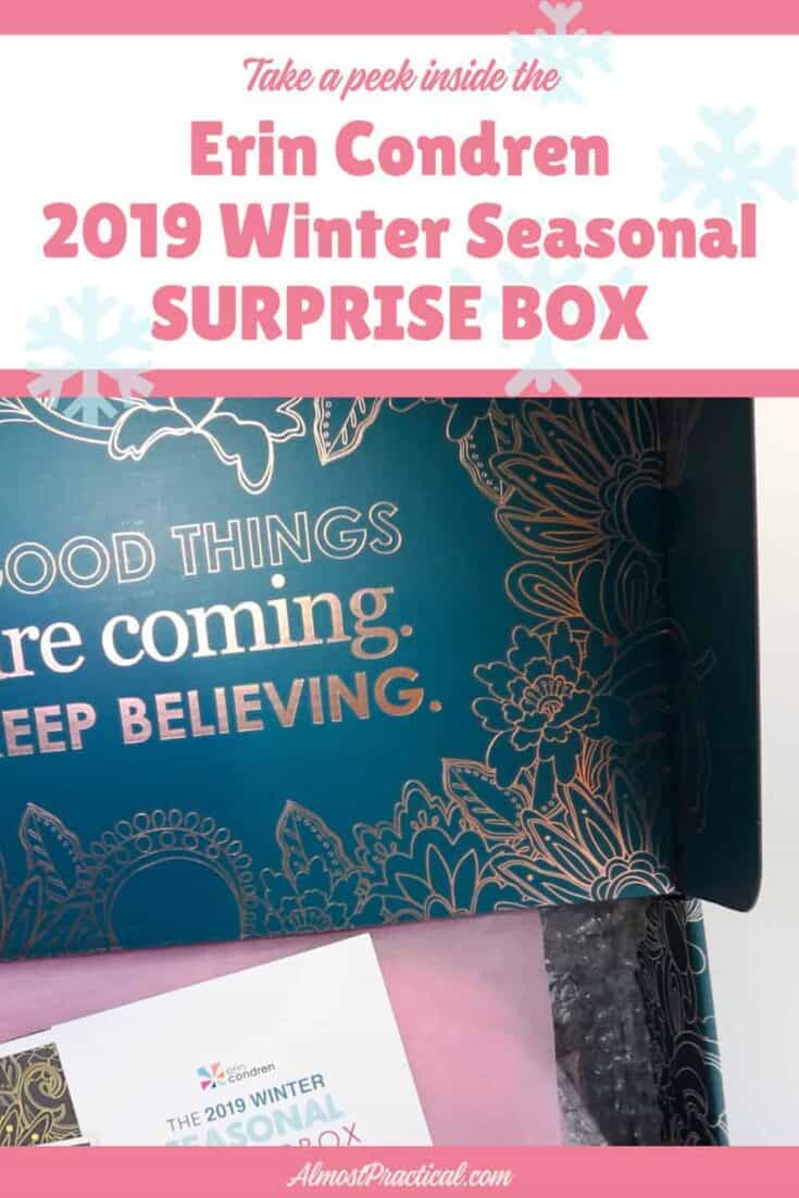 the inside cover of the 2019 Winter Erin Condren Surprise box.