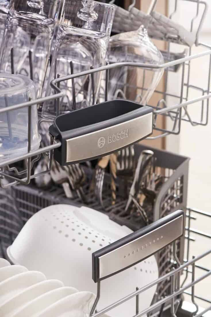 Bosch 800 Series dishwasher filled with dishes.