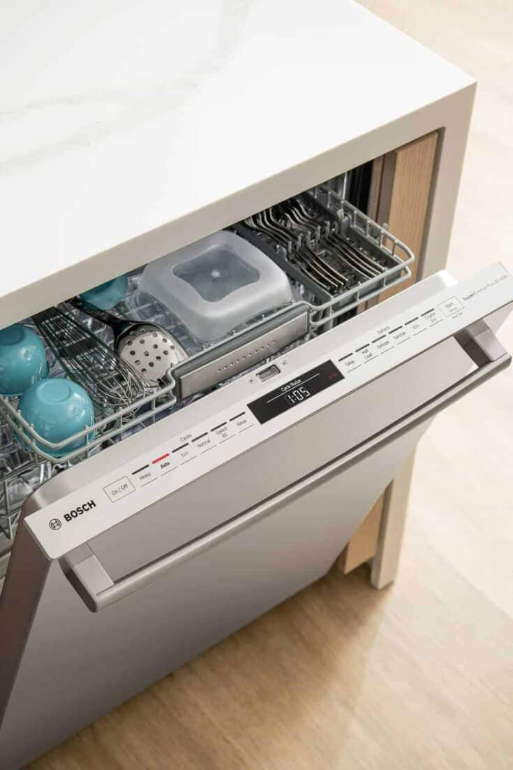 View of the top rack of the Bosch 800 Series dishwasher from above.