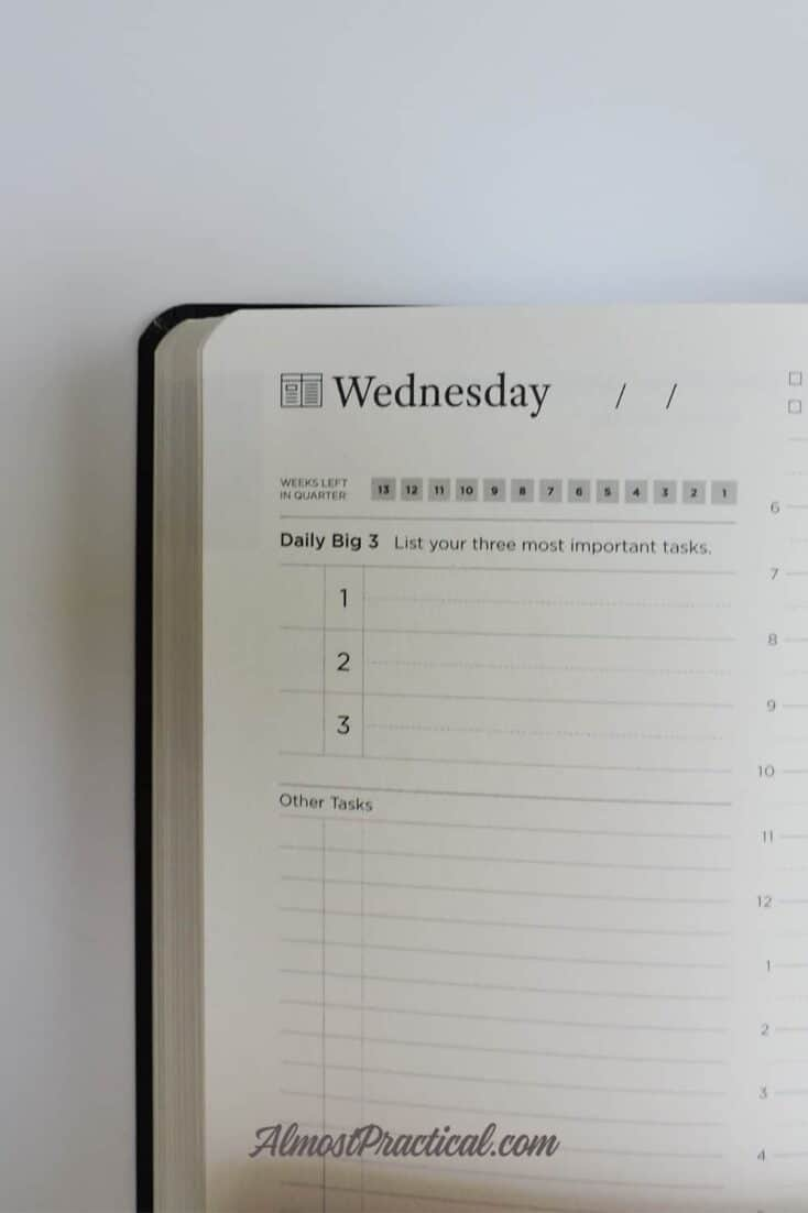 Full Focus Planner by Michael Hyatt - daily page showing top three to do items.