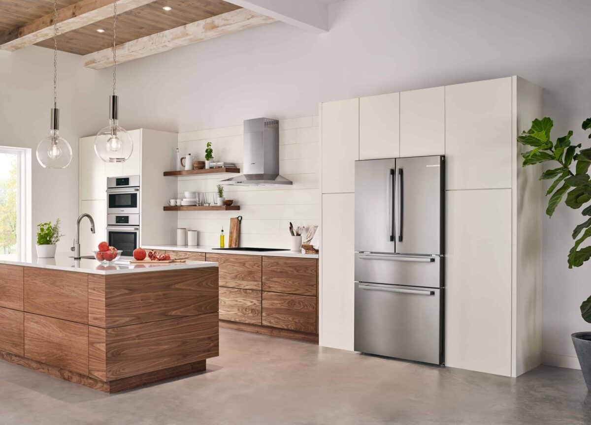 photo of all new Bosch Counter Depth Refrigerator in a modern kitchen.