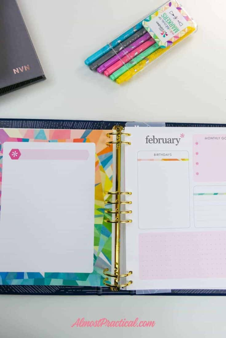 A photo of the planning for the month pages in the Erin Condren LifePlanner Binder.