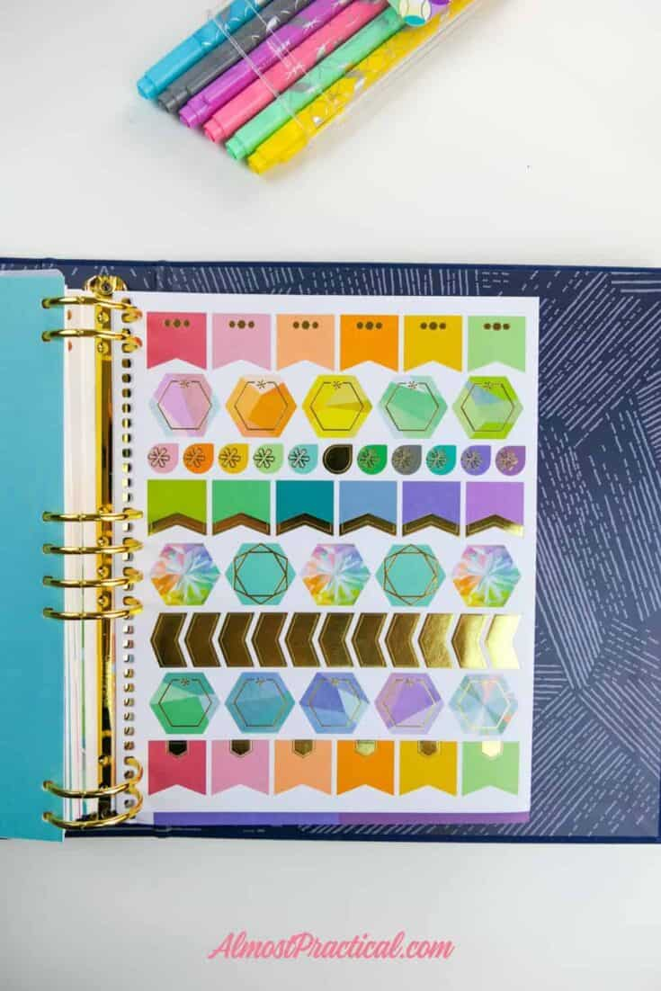 A sheet of stickers that is included in the Erin Condren LifePlanner Binder.