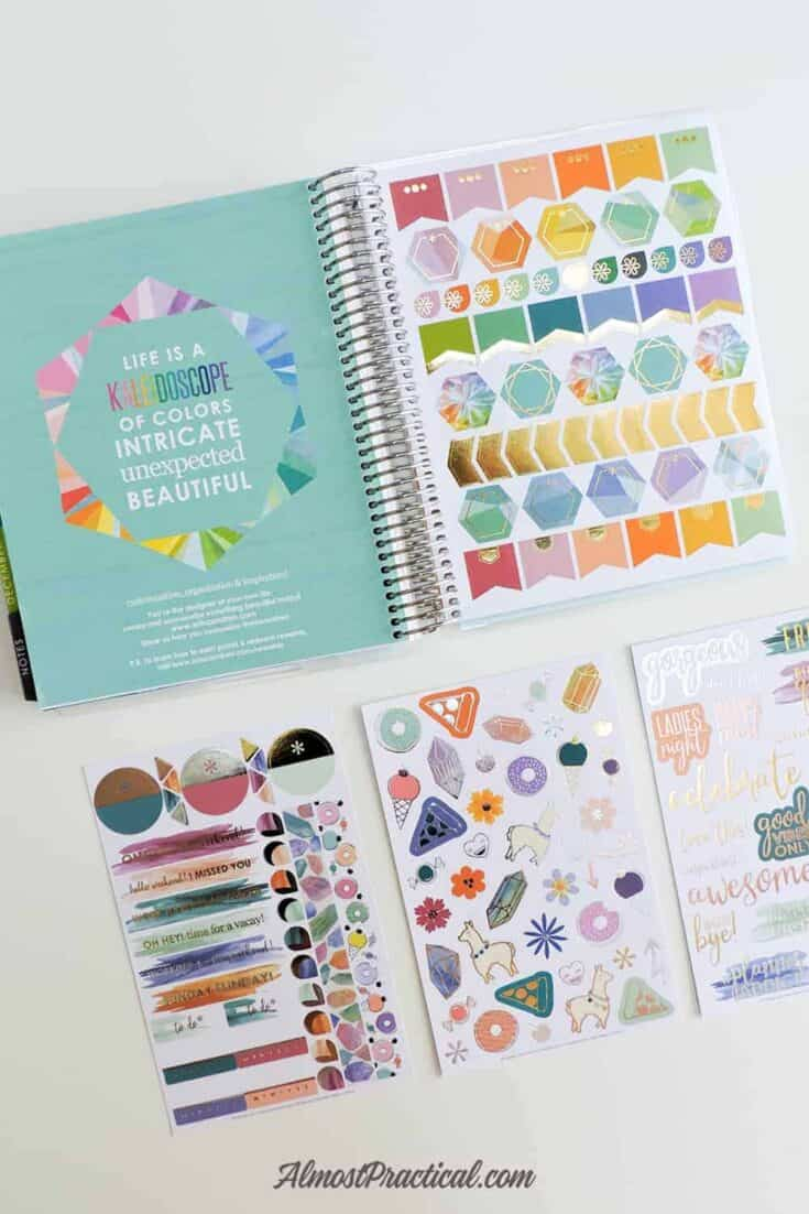The Erin Condren LifePlanner Binder open to the sticker page and 3 sticker sheets.