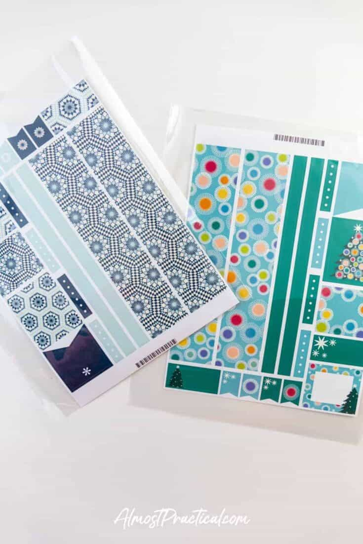 Two Erin Condren Planner Sticker Sheets in Mosaic and Season to Shine themes.