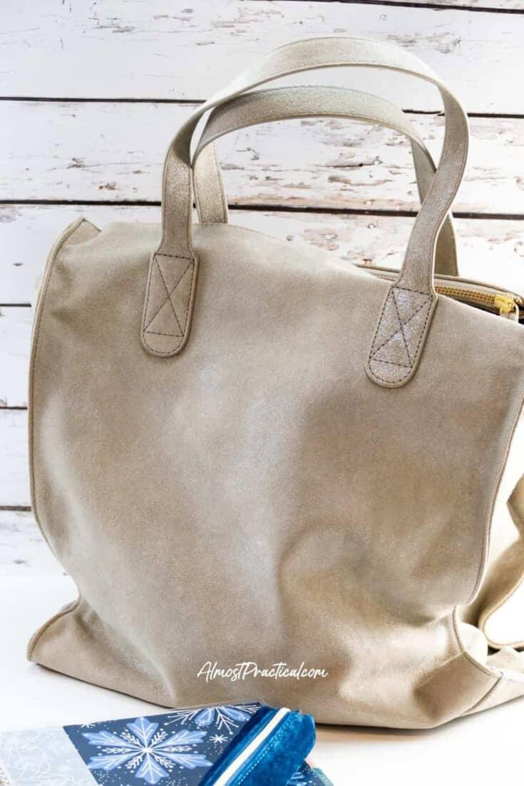 photo of the Erin Condren Tote Bag in Metallic Suede
