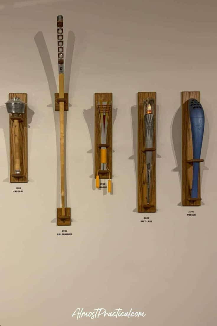 a selection of Olympic torches as displayed at the Olympic Museum in Lake Placid NY.
