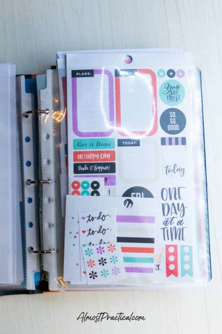 a collection of Happy Planner stickers that have a common color theme - aqua, lilac, and salmon