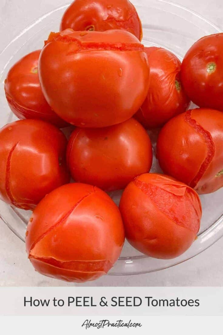 a pile of blanched tomatoes ready to be peeled.
