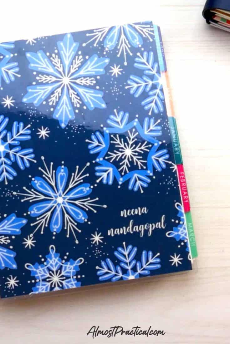 my 2020 erin condren lifeplanner with a snowflake pattern cover.