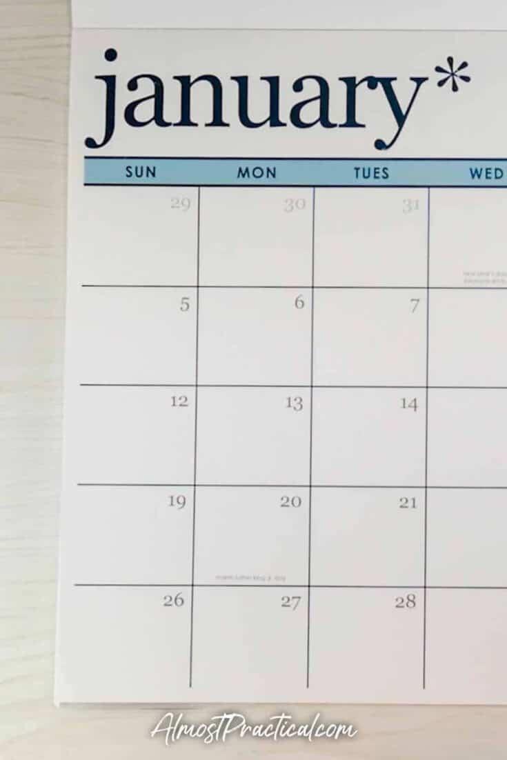 January page of the 2020 Erin Condren Desk Calendar