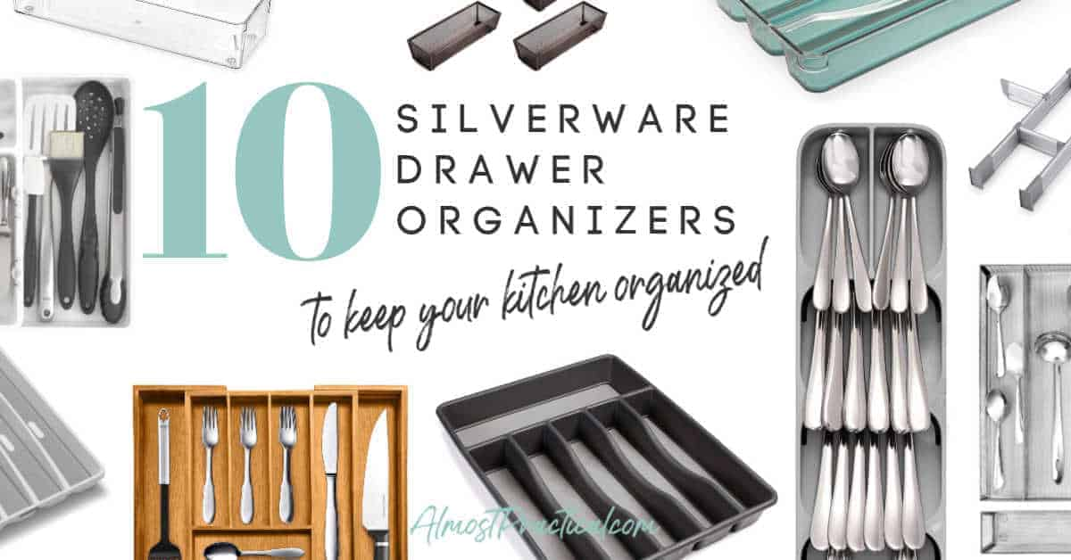collage of silverware drawer organizers