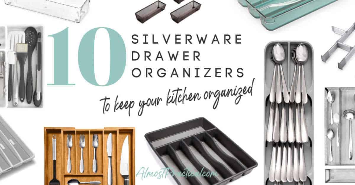 collage of silverware drawer organizers