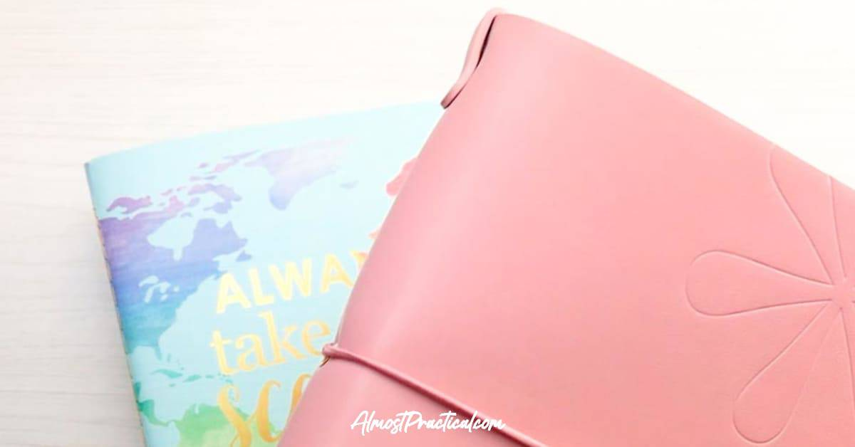 The Erin Condren Petite Planner On the Go Folio in Blush with the Travel Journal behind it.