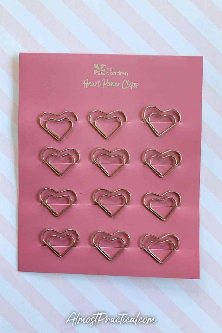Erin Condren heart shaped paper clips