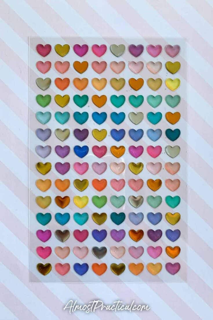 Erin Condren high gloss heart planner stickers