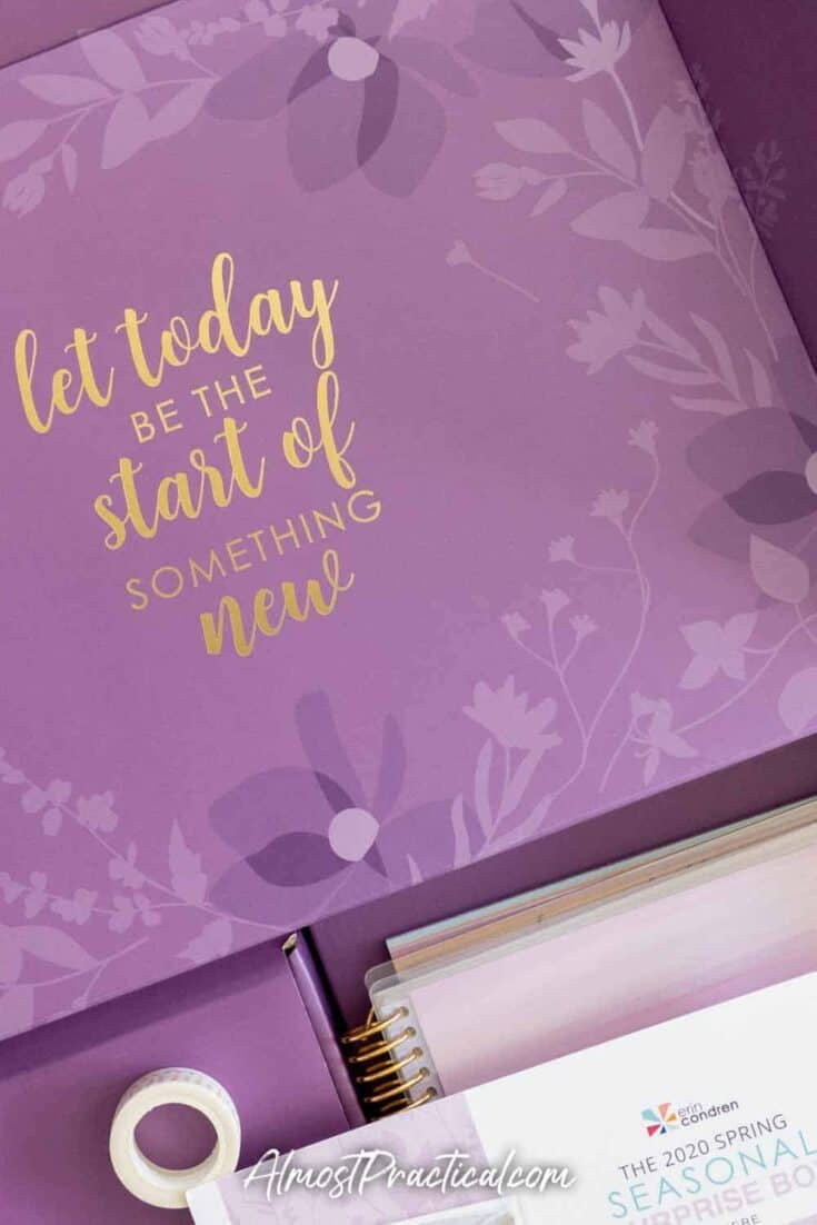 Inside cover of the Erin Condren 2020 Spring Surprise Box
