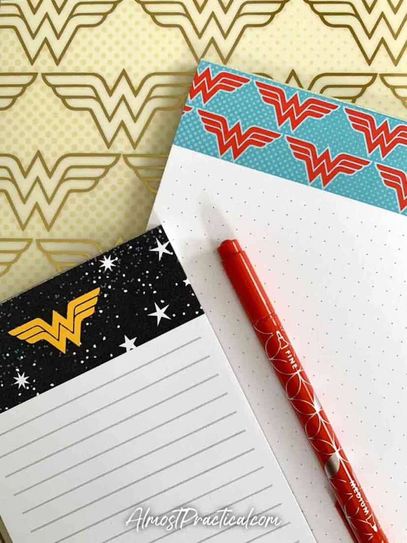 Erin Condren Wonder Woman Collection tablets and notepads