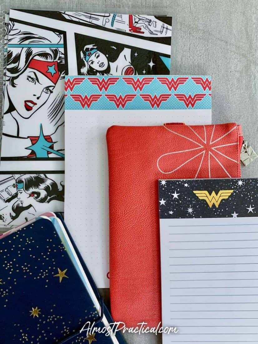 LifePlanner cover, planny pack, and notebooks from the new Erin Condren Wonder Woman Collection