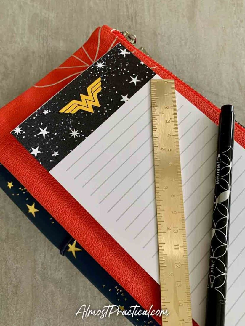 Petite Planner folio, Planny Pack, and Notepad from the new Erin Condren Wonder Woman Collection.