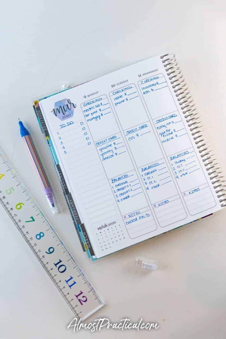 Sample household budget in an Erin Condren Life Planner vertical layout.